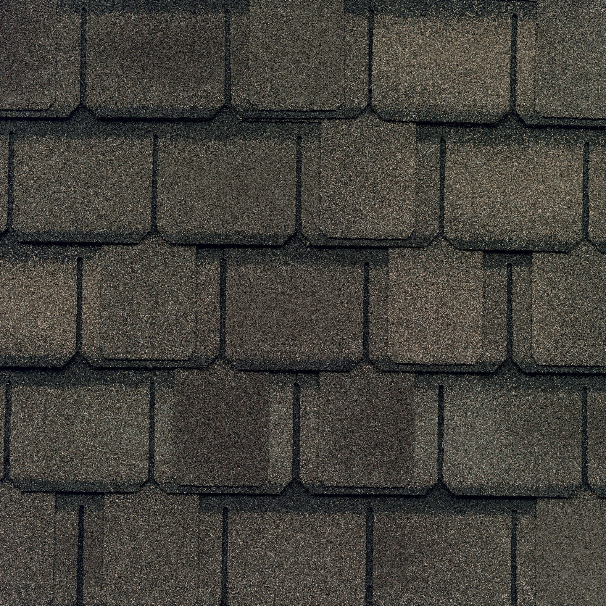 Close-up photo of GAF's Camelot II Weathered Wood shingle swatch