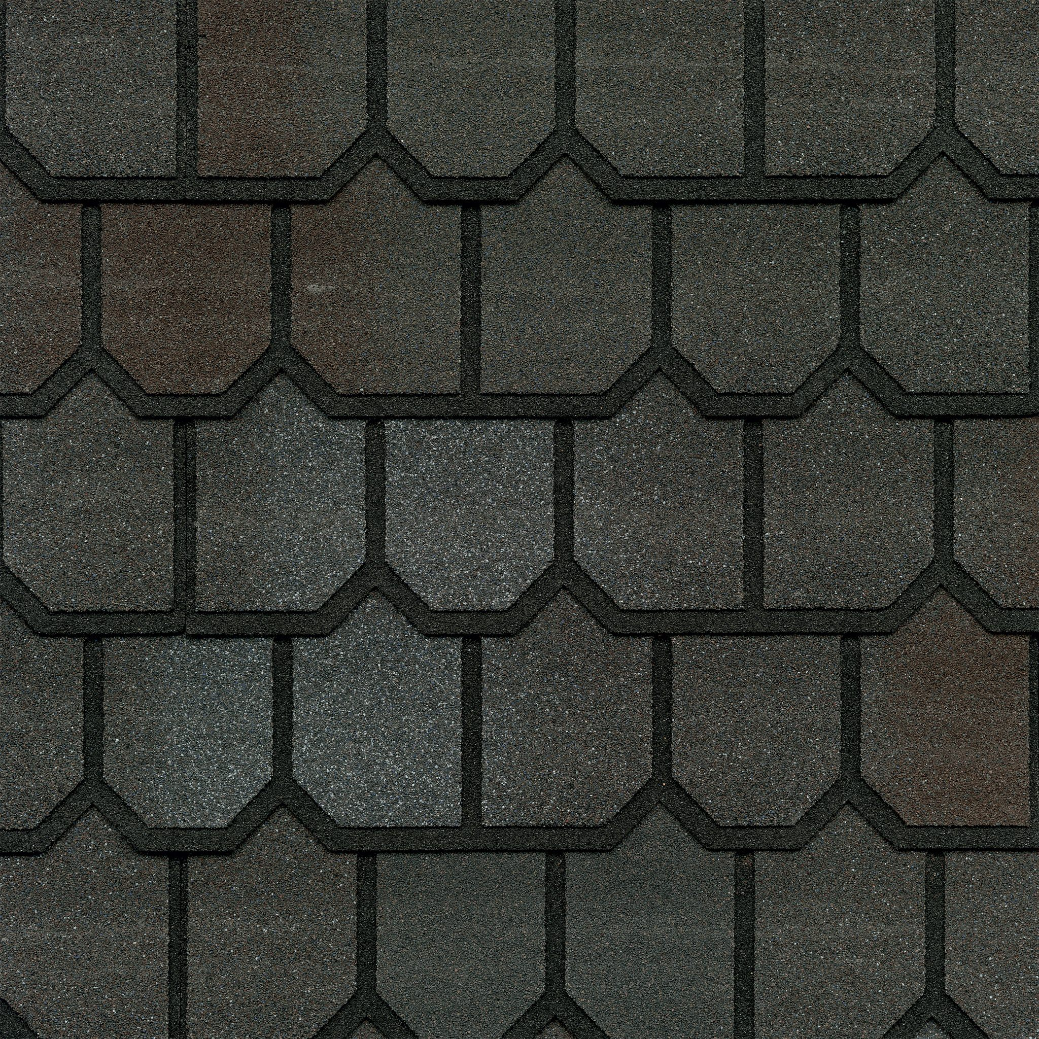 Close-up photo of GAF's Country Mansion II Spiced Pewter shingle swatch