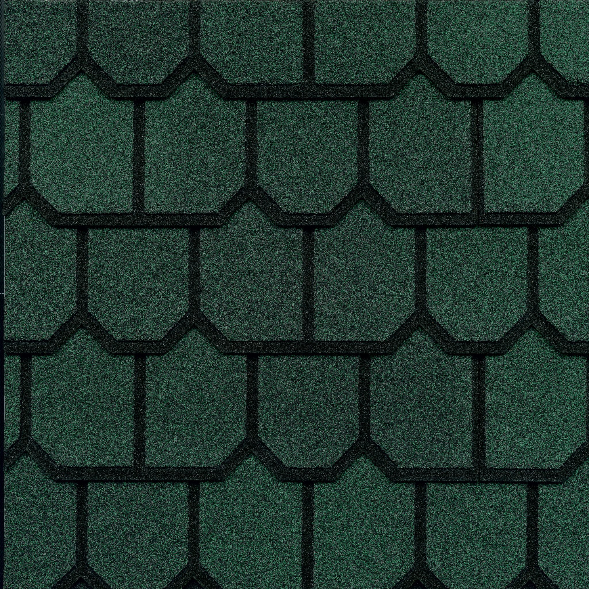 Close-up photo of GAF's Country Mansion Moss Green shingle swatch