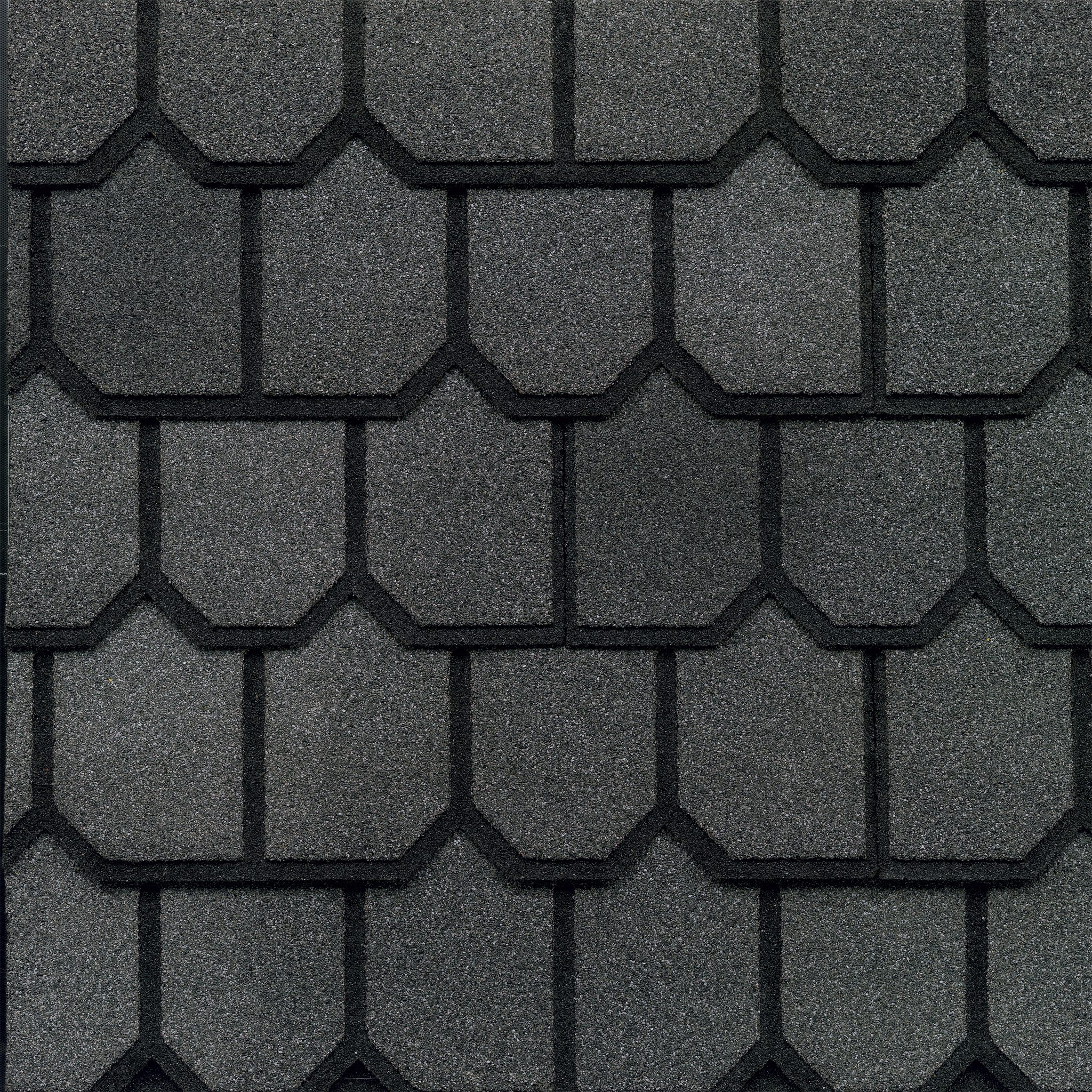 Close-up photo of GAF's Country Mansion Olde Pewter shingle swatch