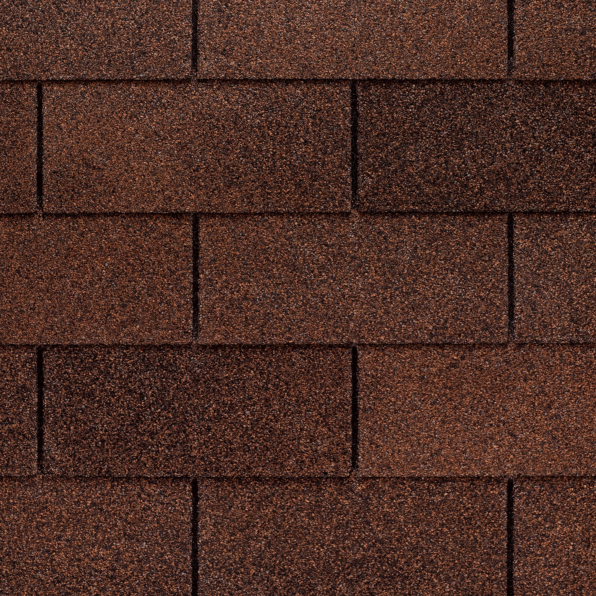 Close up photo of GAF's Royal Sovereign Autumn Brown shingle swatches