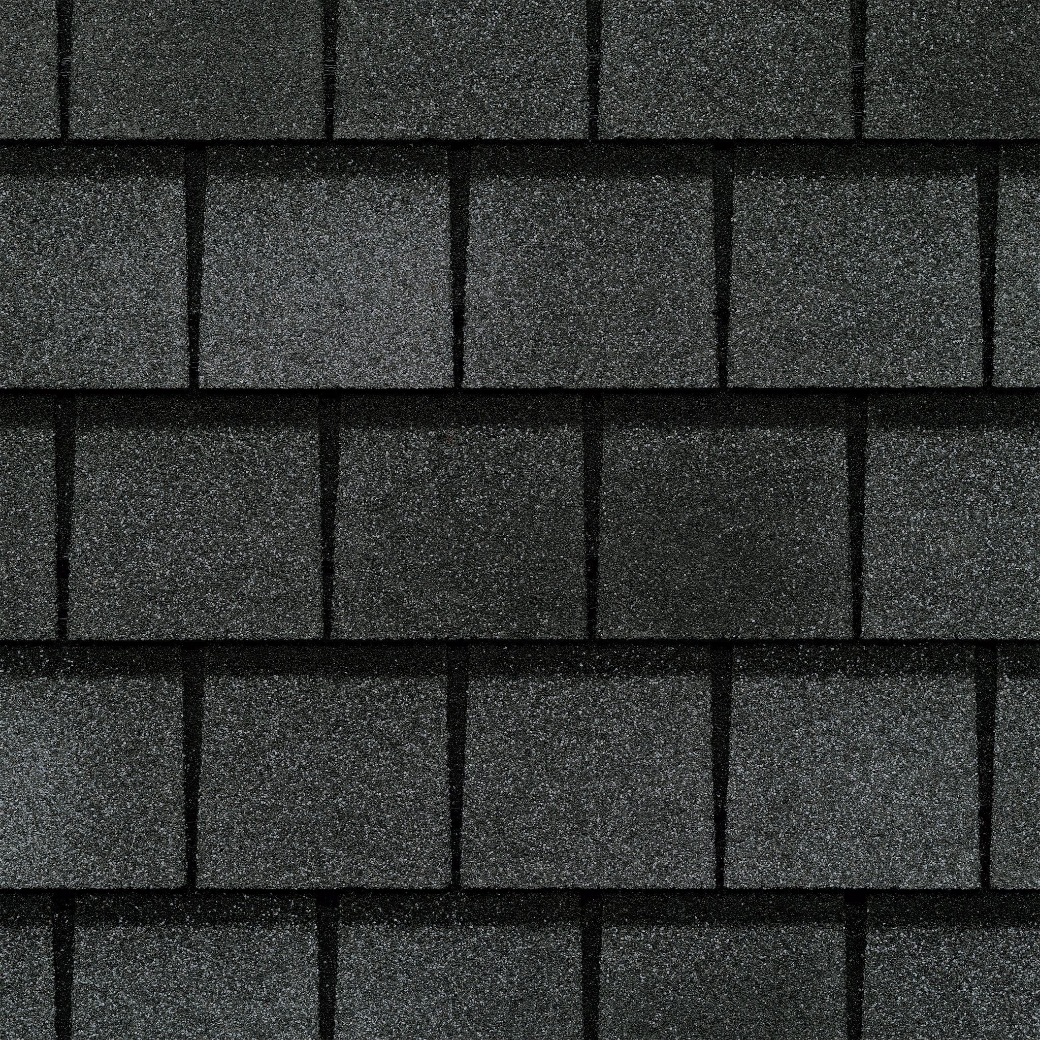 Close up photo of GAF's Slateline English Gray shingle swatch