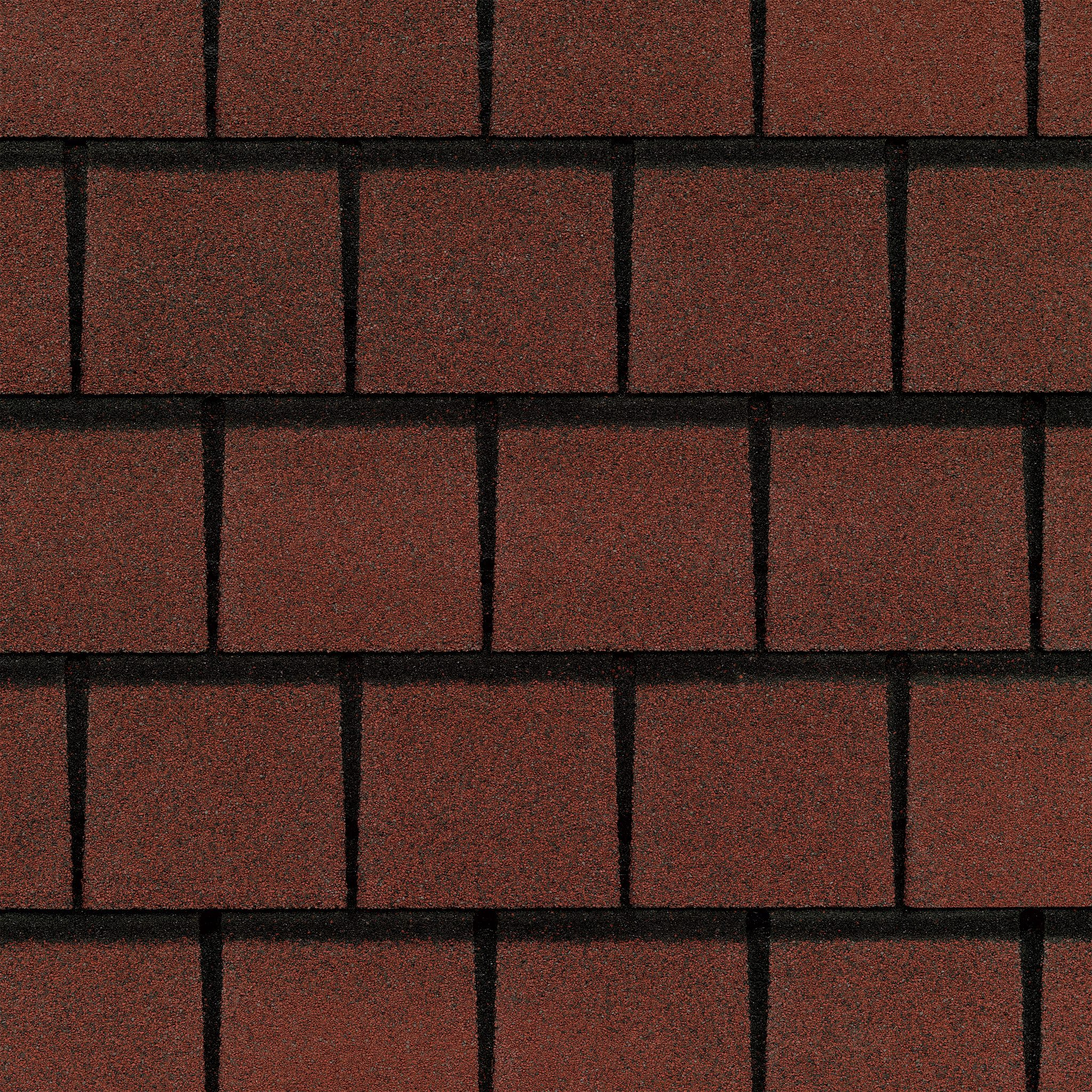 Close up photo of GAF's Slateline Victorian Red shingle swatch