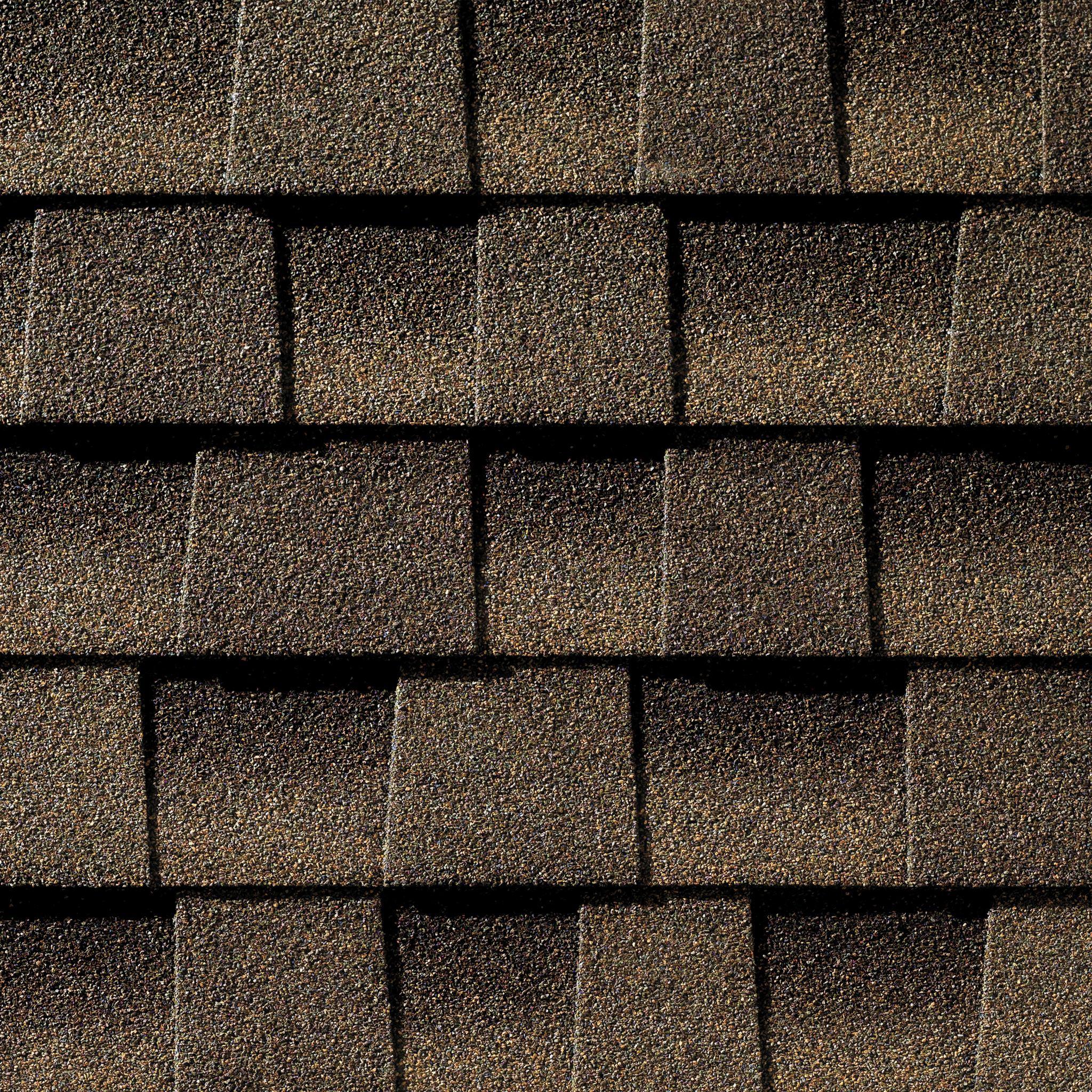 Close up photo of GAF's Timberline Ultra HD Barkwood shingle swatch