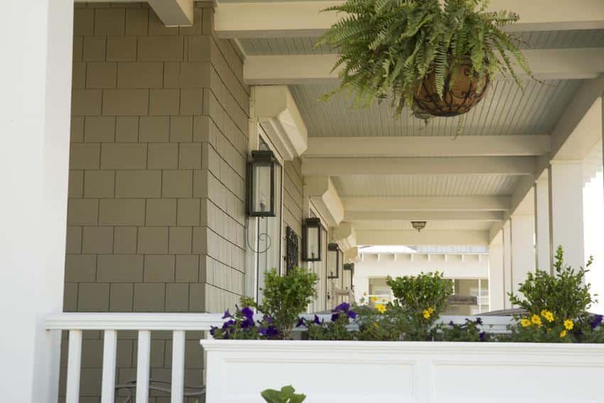 Close-up of HardieShingle porch