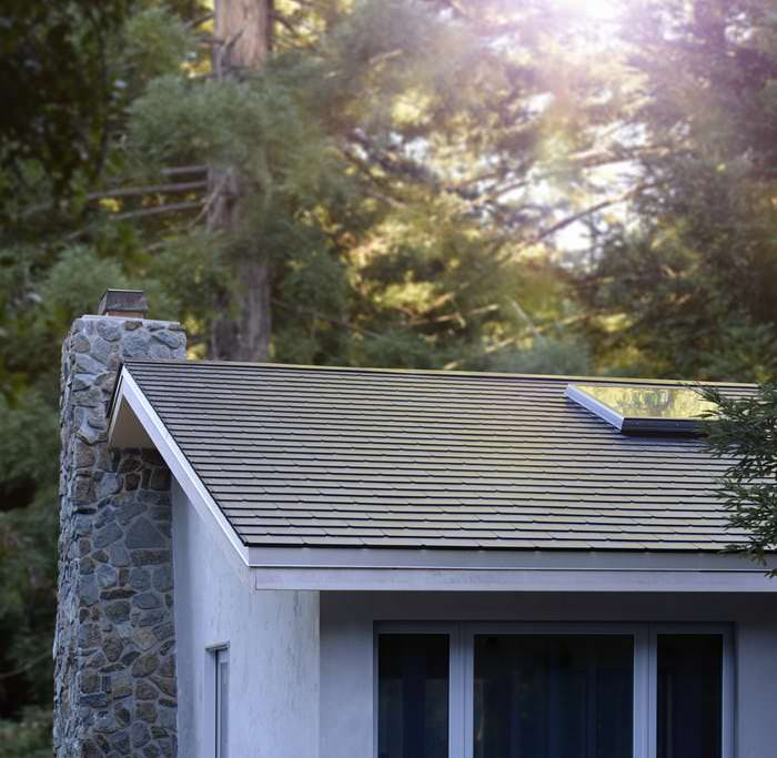 Tesla solar tiles on a roof.