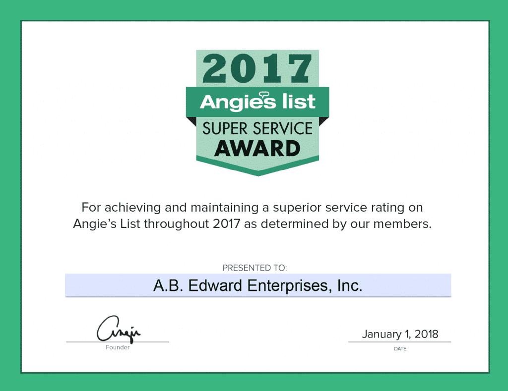 Angies List Super Service Award (SSA).