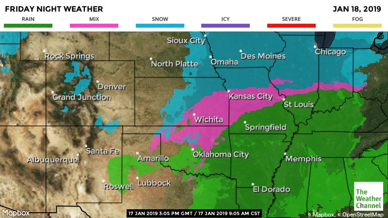 From weather.com: Friday's snow forecast