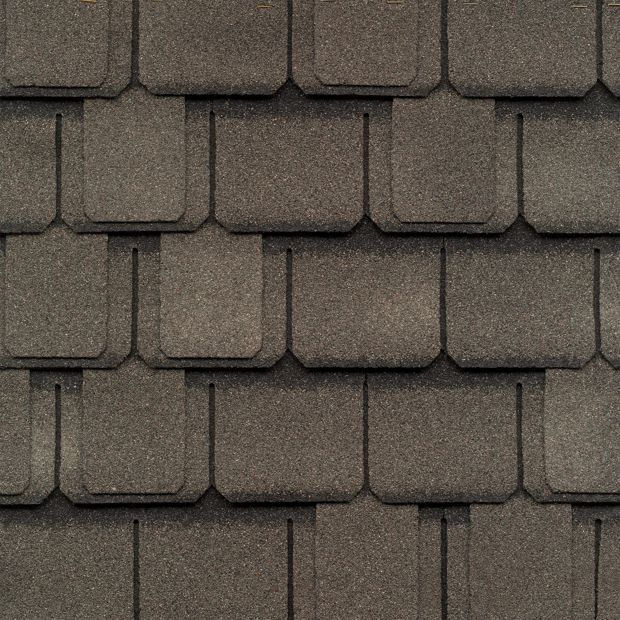 Close-up photo of a GAF Camelot Aged Oak shingle