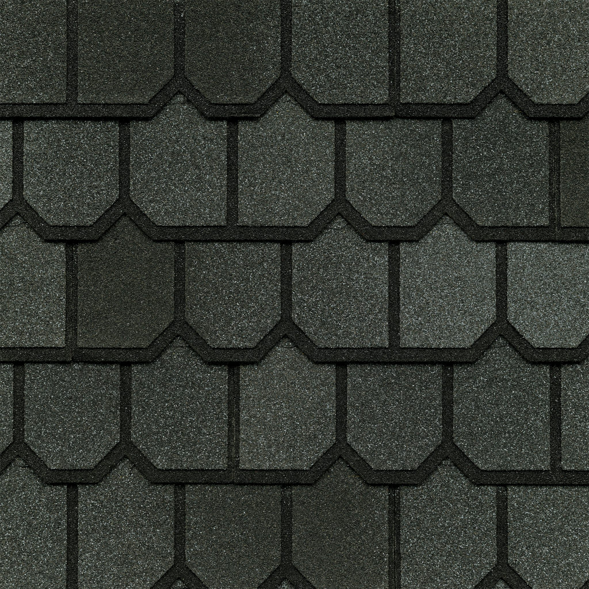Close-up photo of GAF's Country Mansion II Olde Pewter shingle swatch