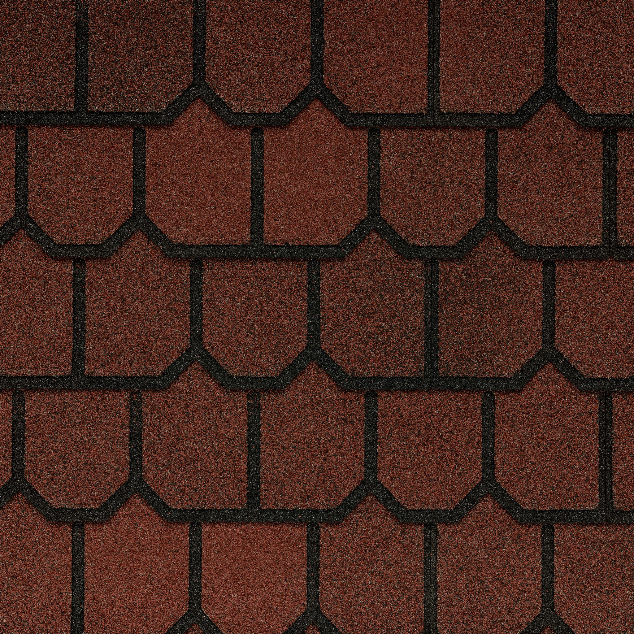 Close-up photo of GAF's Country Mansion II Victorian Red shingle swatch