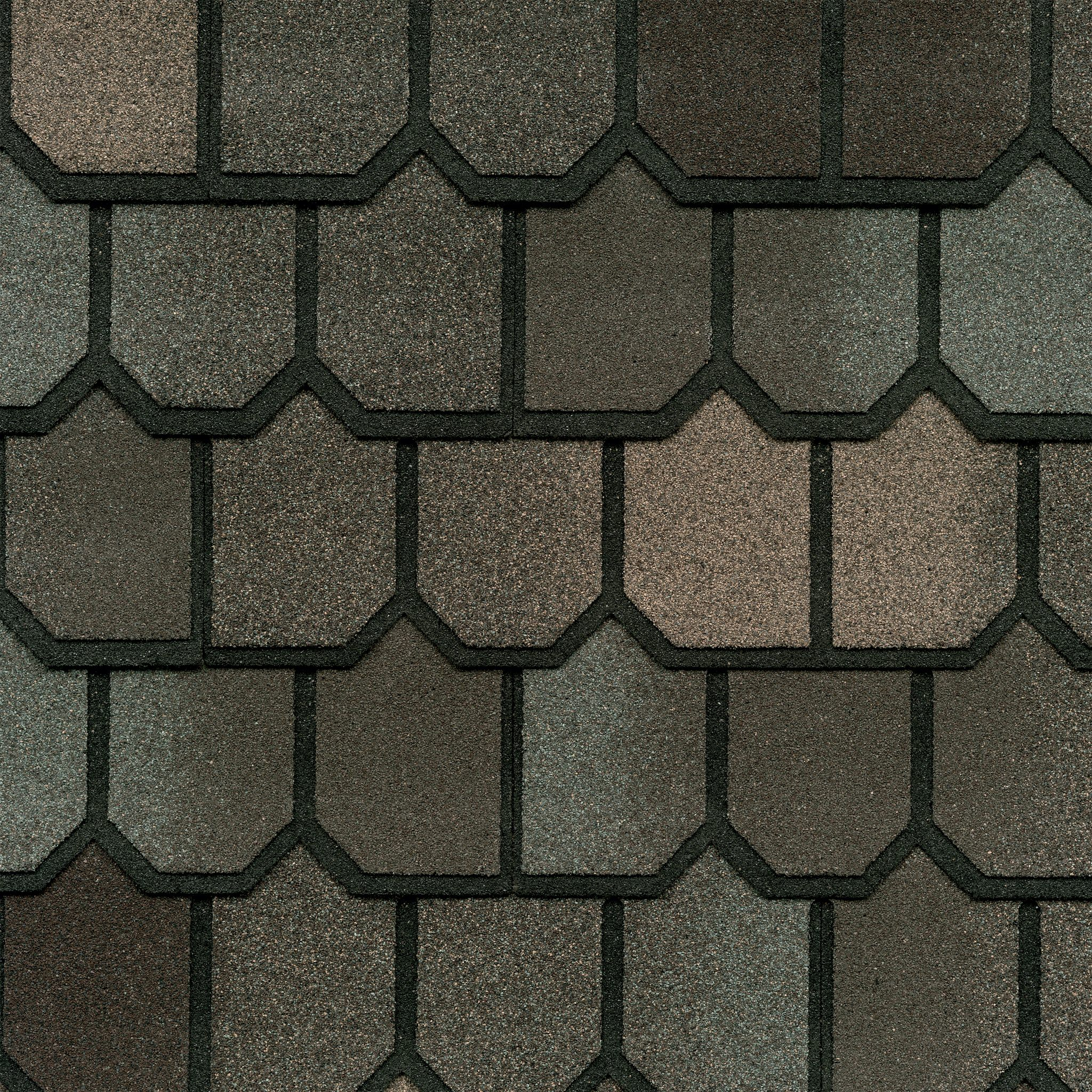 Close-up photo of GAF's Country Mansion II Weathered Wood shingle swatch