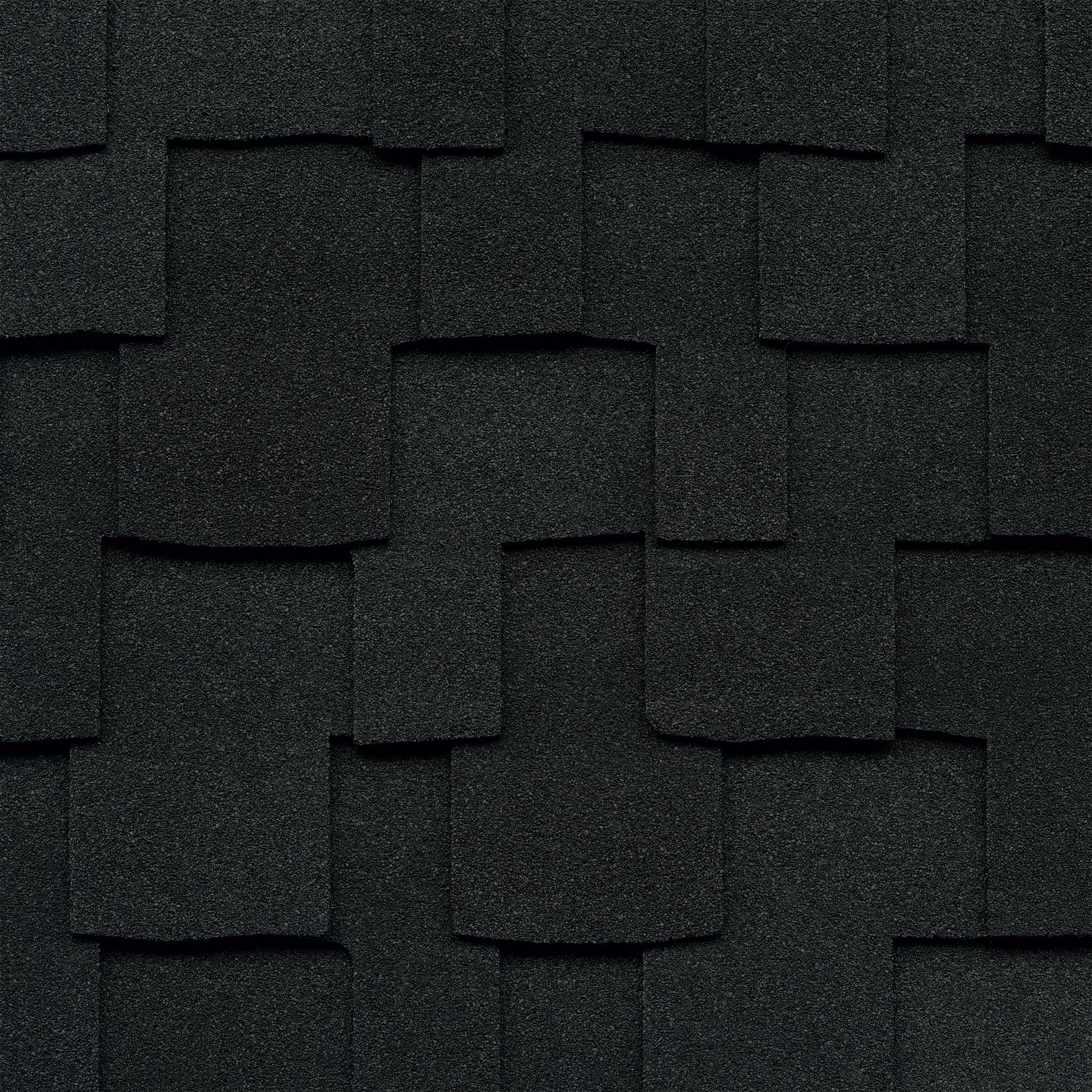 Close-up photo of GAF's Grand Sequoia Charcoal shingle swatch