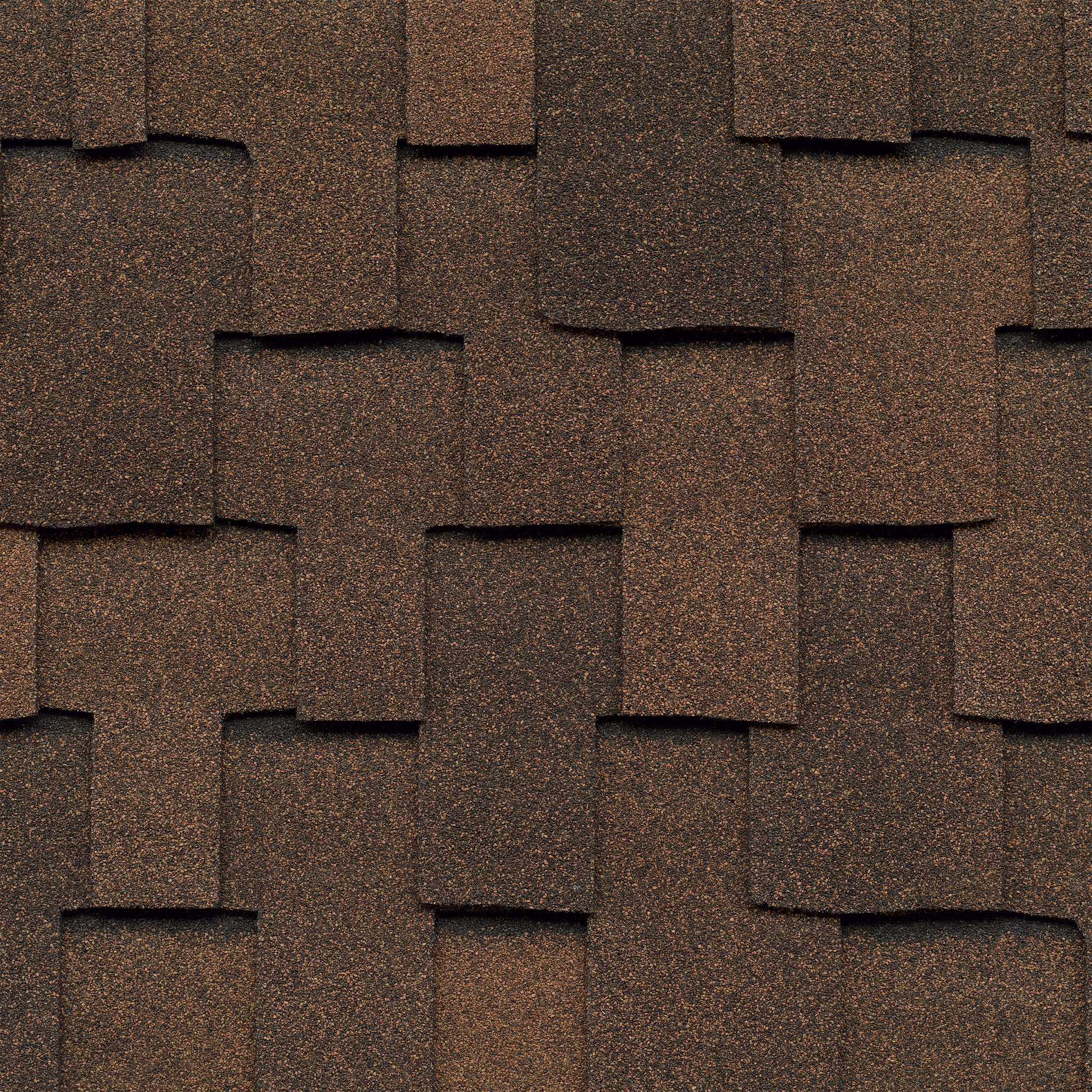 Close-up photo of GAF's Grand Sequoia Mesa Brown shingle swatches