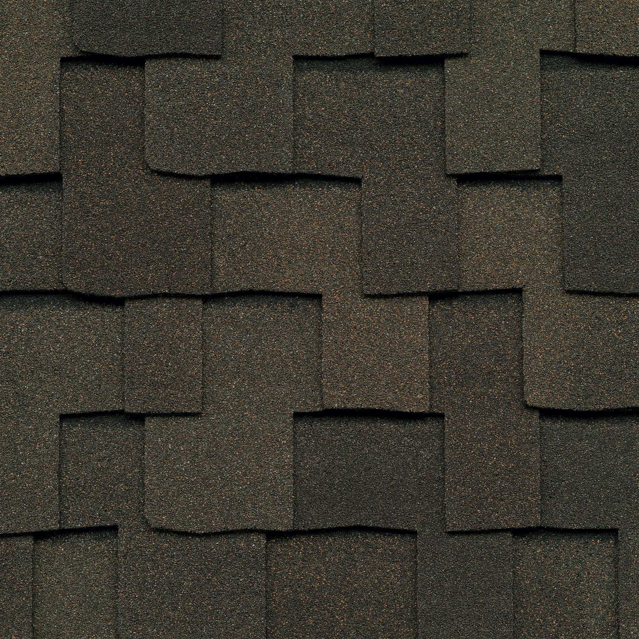 Close up photo of GAF's Grand Sequoia Weathered Wood shingle swatch