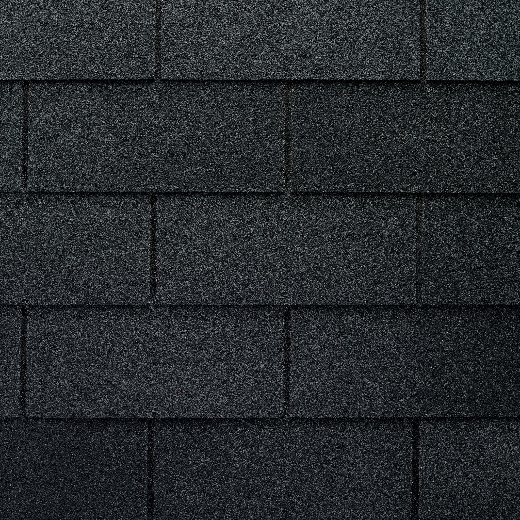 Close up photo of GAF's Marquis WeatherMax Charcoal shingle swatch
