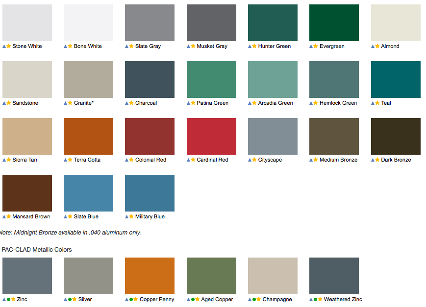 Pac-Clad Metal Roofing Colors