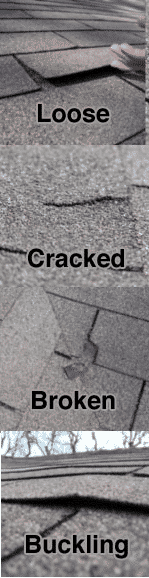 Loose, cracked, buckling and damaged shingles