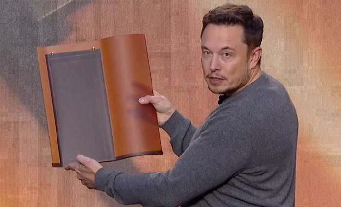 Musk holding a tuscan roof tile.