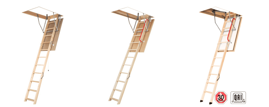 Wooden folding section attic ladders