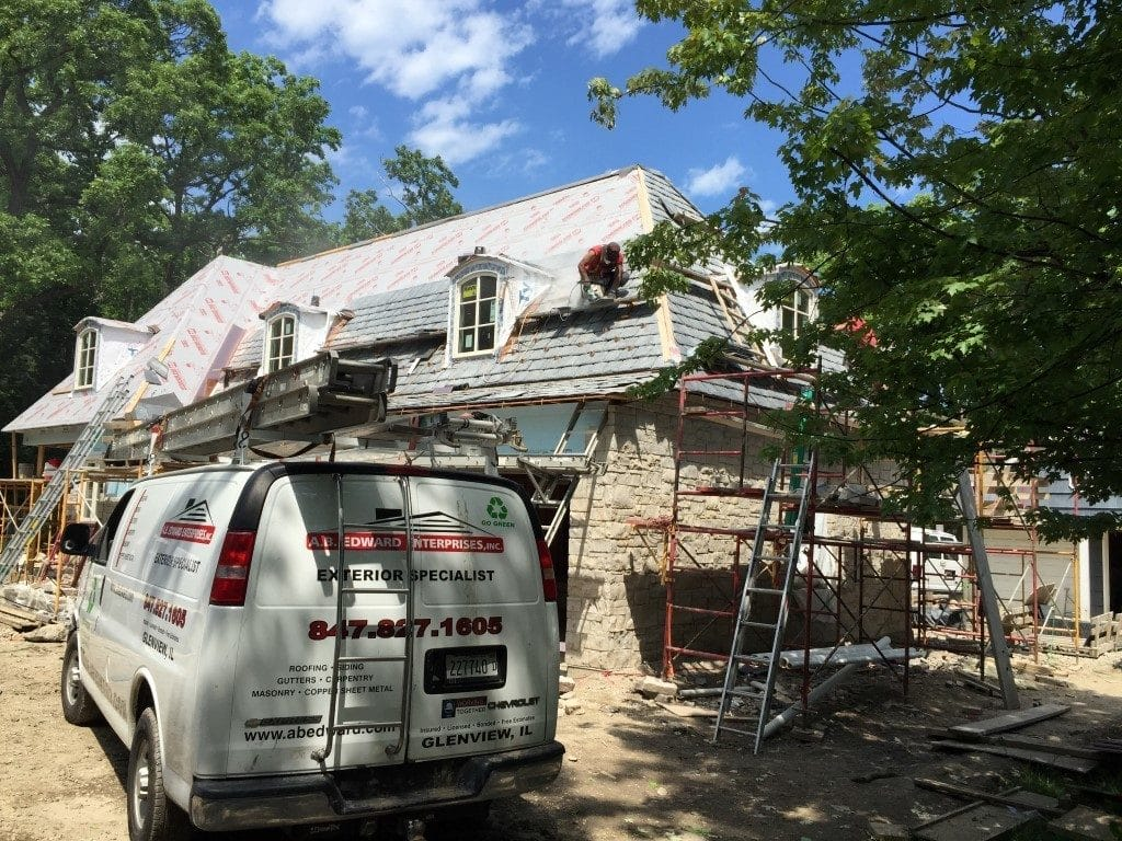 Before thanks to AB Edward Enterprises in Chicago, IL for permission to use before and after natural slate roofing examples
